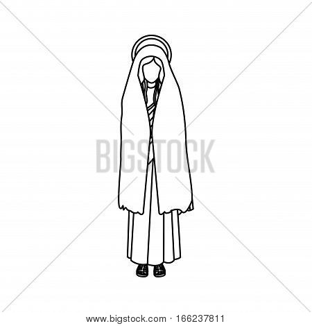 silhouette of saint virgin mary vector illustration