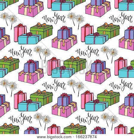 New Year wrapping paper. Gift seamless pattern. Vector bright texture with gift box and sparklers.