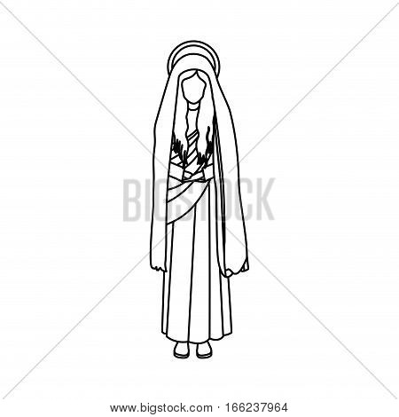 contour figure human of saint virgin maria vector illustration