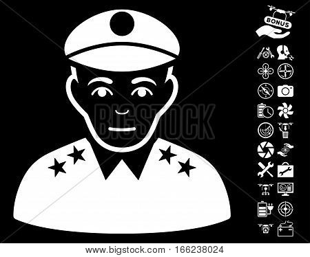 Army General pictograph with bonus quad copter tools clip art. Vector illustration style is flat iconic white symbols on black background.