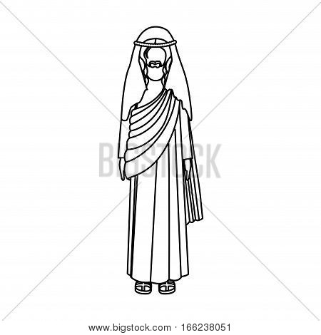 silhouette of picture of christ with tunic vector illustration