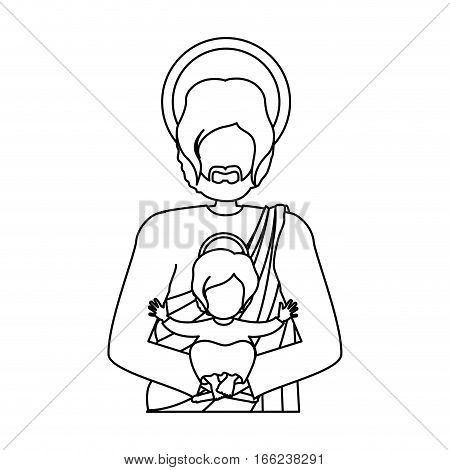 contour half body saint joseph with baby jesus vector illustration