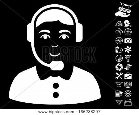 Call Center Operator pictograph with bonus drone tools symbols. Vector illustration style is flat iconic white symbols on black background.