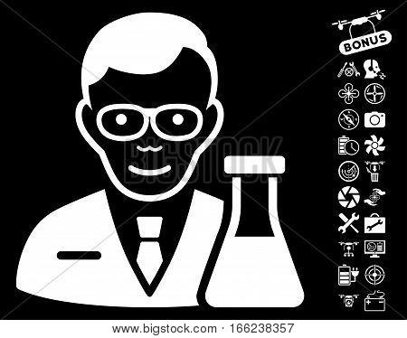 Chemist pictograph with bonus uav tools graphic icons. Vector illustration style is flat iconic white symbols on black background.