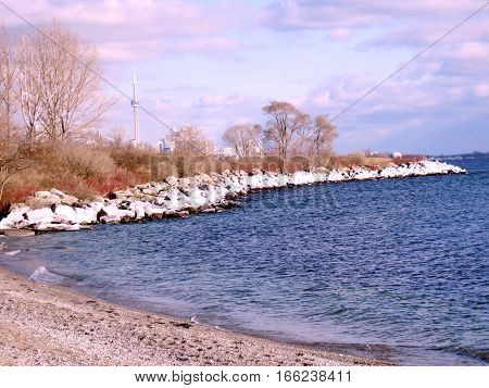 The winter landscape on a shore of the Lake Ontario in Toronto Canada January 6 2017