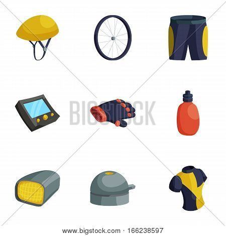 Bike equipment icons set. Cartoon illustration of 9 bike equipment vector icons for web