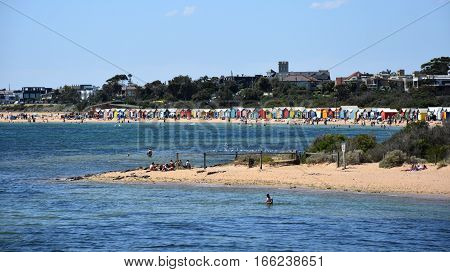 Melbourne Australia - December 30 2016. People swimming on Brighton Beach (Victoria Australia). Colourful bathing boxes in the background.