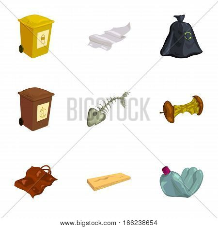 Garbage and recycling icons set. Cartoon illustration of 9 garbage and recycling vector icons for web
