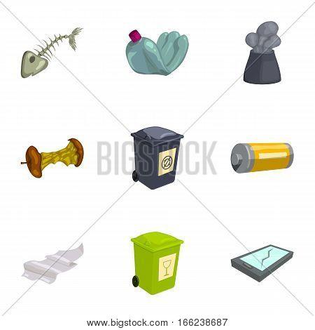 Trash and garbage icons set. Cartoon illustration of 9 trash and garbage vector icons for web
