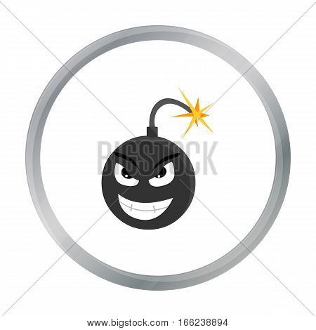 Bomb virus icon in cartoon style isolated on white background. Personal computer symbol vector illustration. - stock vector