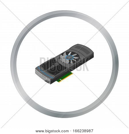 Video card icon in cartoon style isolated on white background. Personal computer symbol vector illustration. - stock vector