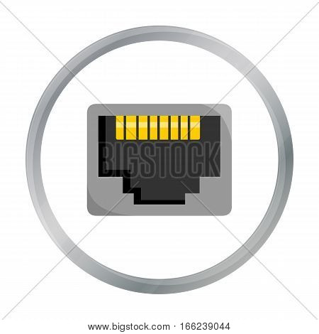 LAN port icon in cartoon style isolated on white background. Personal computer symbol vector illustration. - stock vector