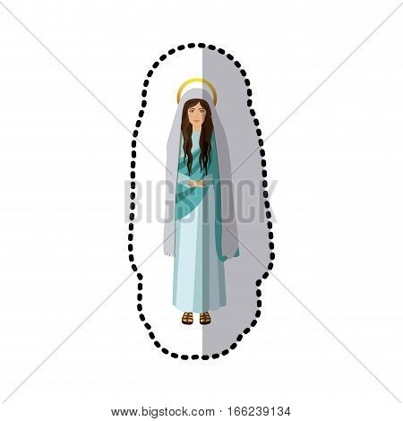 sticker figure human of saint virgin maria vector illustration
