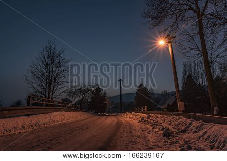 Night winter in Libouchec village in north Bohemia