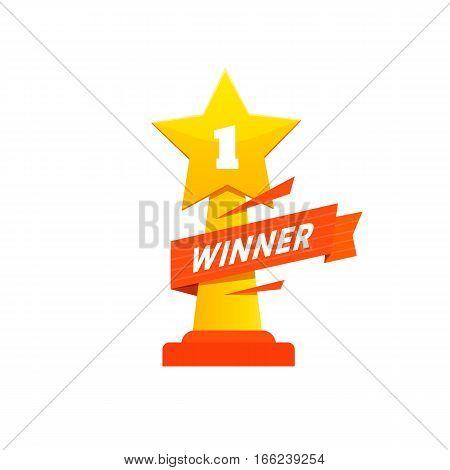 Winner award icon design. Statuette for champion. Vector flat illustration