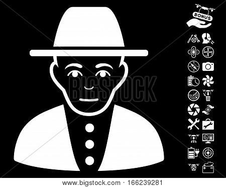 Jew pictograph with bonus copter service pictograph collection. Vector illustration style is flat iconic white symbols on black background.