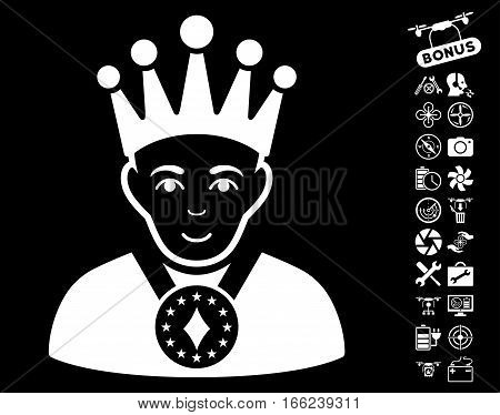 King pictograph with bonus airdrone tools icon set. Vector illustration style is flat iconic white symbols on black background.