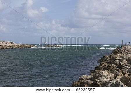 View of the Boca Raton Inlet in Florida