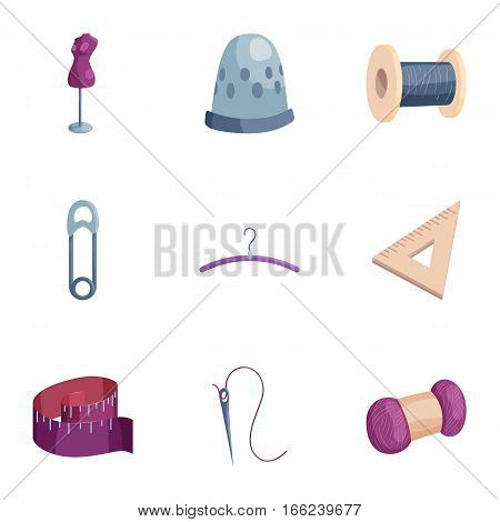 Sewing and knitting accessories icons set. Cartoon illustration of sewing and knitting accessories 9 vector icons for web