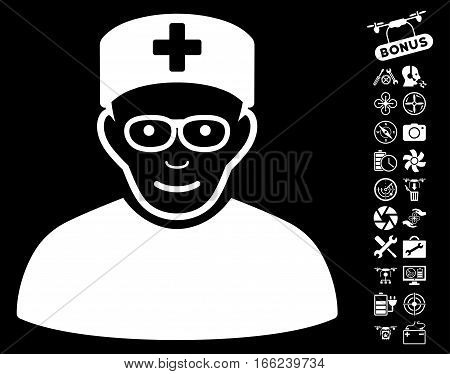 Medical Specialist icon with bonus nanocopter service pictograph collection. Vector illustration style is flat iconic white symbols on black background.