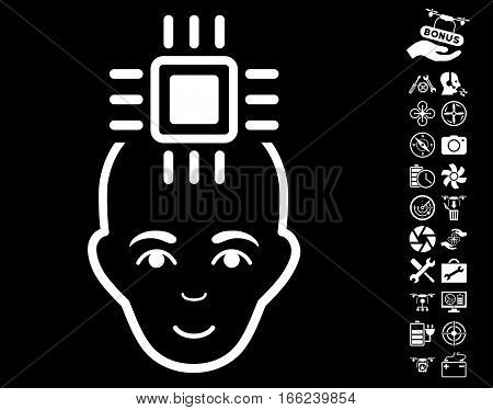 Neural Computer Interface pictograph with bonus uav service clip art. Vector illustration style is flat iconic white symbols on black background.