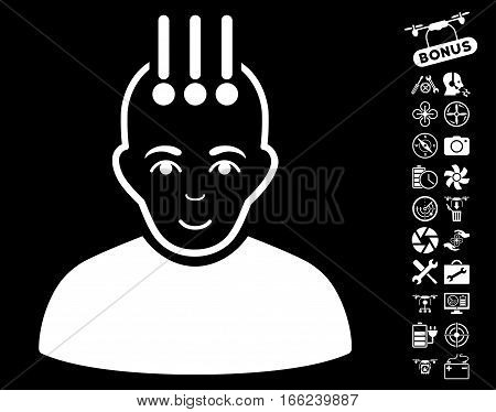Neural Interface pictograph with bonus copter service pictograms. Vector illustration style is flat iconic white symbols on black background.