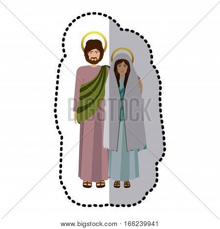 sticker picture colorful virgin mary and saint joseph embraced vector illustration