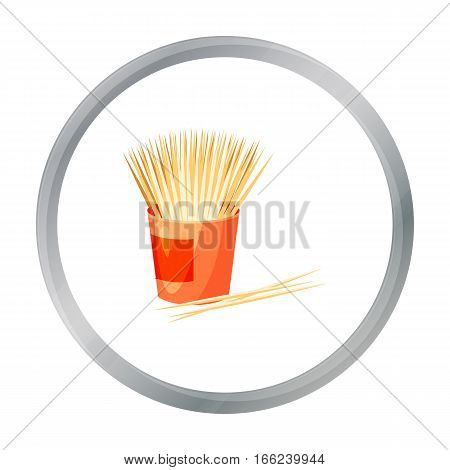 Toothpicks icon in cartoon style isolated on white background. Dental care symbol vector illustration. - stock vector