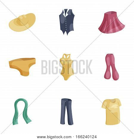 Casual women clothes icons set. Cartoon illustration of 9 casual women clothes c vector icons for web