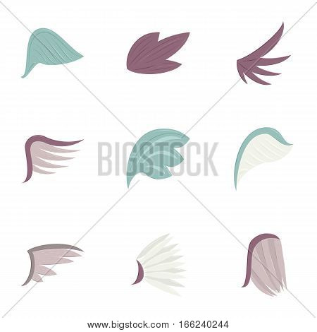 Different wing design icons set. Cartoon illustration of 9 different wing design vector icons for web