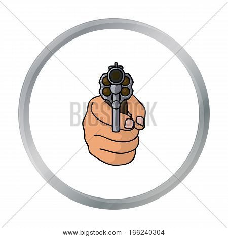 Directed gun icon in cartoon style isolated on white background. Crime symbol vector illustration. - stock vector