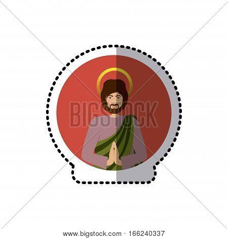 circular sticker with half body picture saint joseph praying