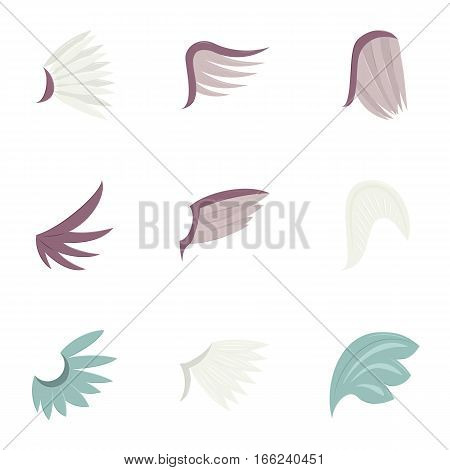 Feather wing bird icons set. Cartoon illustration of 9 feather wing bird vector icons for web