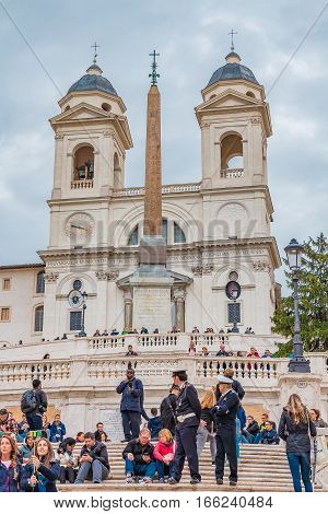 Tourists And Carabinieri At Spanish Steps In Rome, Italy