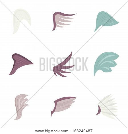 Wings icons set. Cartoon illustration of 9 wings vector icons for web
