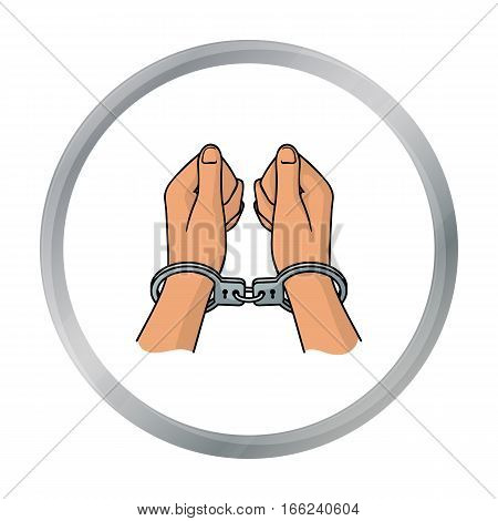 Hands in handcuffs icon in cartoon style isolated on white background. Crime symbol vector illustration. - stock vector