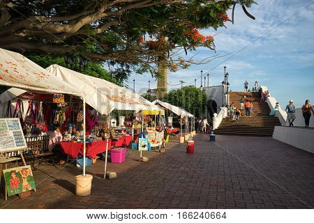 June 25 2016 Panama City Panama: artisan vendors in the French Square in Casco Viejo a popular spot for tourists