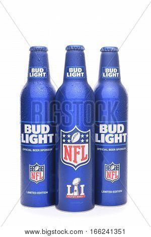 IRVINE CALIFORNIA - JANUARY 22 2017: Bud Light Aluminum Bottles. The resealable bottles feature the NFL and Super Bowl LI logos.