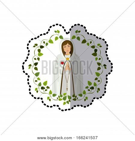 sticker arch of leaves with virgin of the mystic rose vector illustration