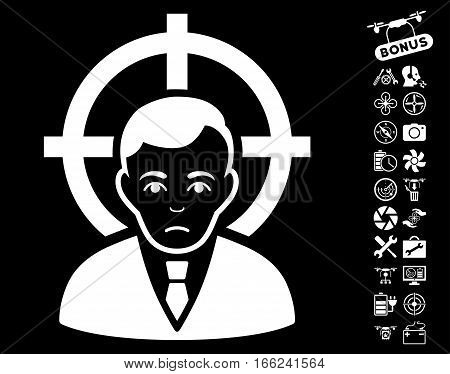Victim Businessman icon with bonus nanocopter tools pictures. Vector illustration style is flat iconic white symbols on black background.