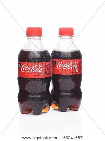 IRVINE CALIFORNIA - January 22 2017: Two bottles of Coca-Cola. Coca-Cola is the one of the worlds favorite carbonated beverages.
