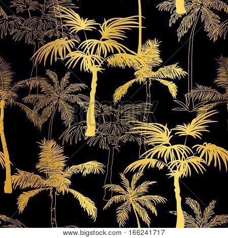 Vector Golden Black Palm Trees Summer Seamless Pattern Background. Great for tropical vacation fabric, cards, wedding invitations, wallpaper. Surface pattern design.