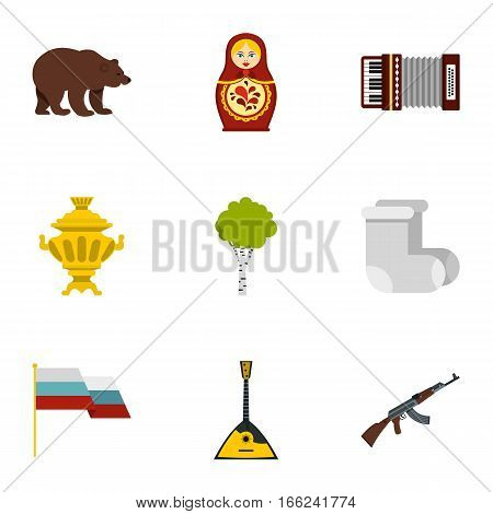 Russia country symbols icons set. Flat illustration of 9 Russia country symbols vector icons for web