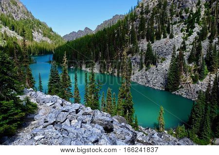 Emerald Lake. Nada lake Enchantment lakes basin Leavenworth Seattle Washington state USA.