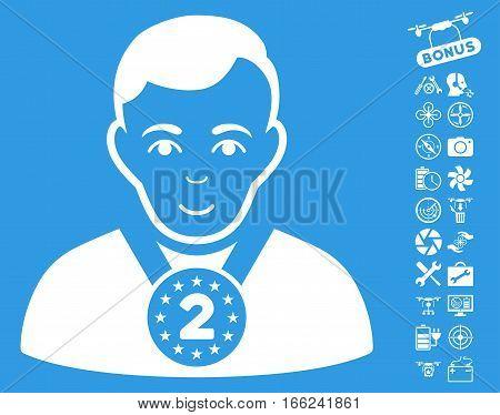 2nd Prizer Sportsman icon with bonus uav service clip art. Vector illustration style is flat iconic white symbols on blue background.