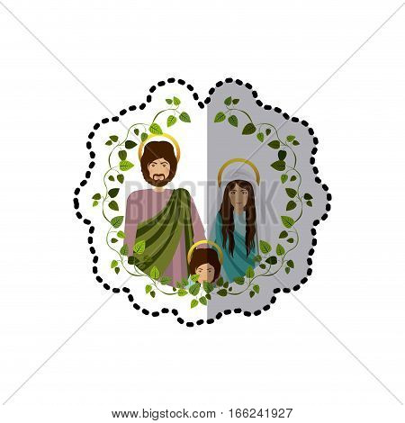 sticker arch of green leaves with half body picture of sacred family vector illustration