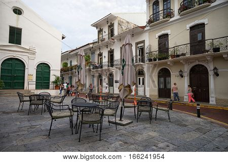 June 25 2016 Panama City Panama: outdoors coffeehouse patio in the French Square in Casco Viejo a popular spot for tourists