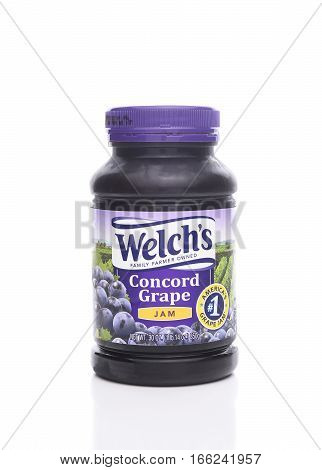 IRVINE CALIFORNIA - JANUARY 22 2017: Welchs Concord Grape Jam. Welch's is known for its grape juices jams and jellies made from dark Concord grapes.
