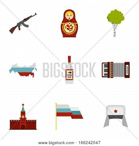 Travel to Russia icons set. Flat illustration of 9 travel to Russia vector icons for web