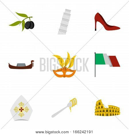 Italy icons set. Flat illustration of 9 Italy vector icons for web